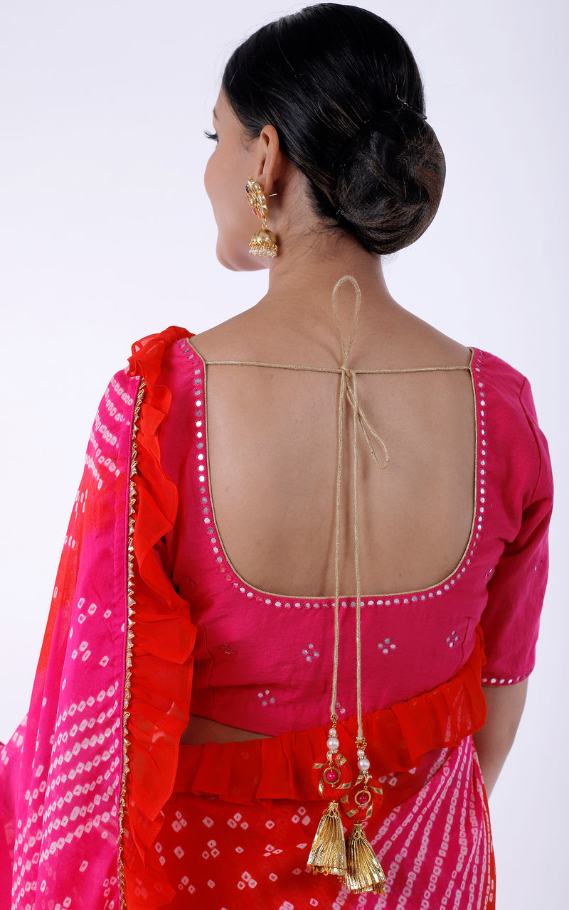 Buy Bandhej Ruffle Saree with Mirrorwork Blouse Online at LabelKanupriya.