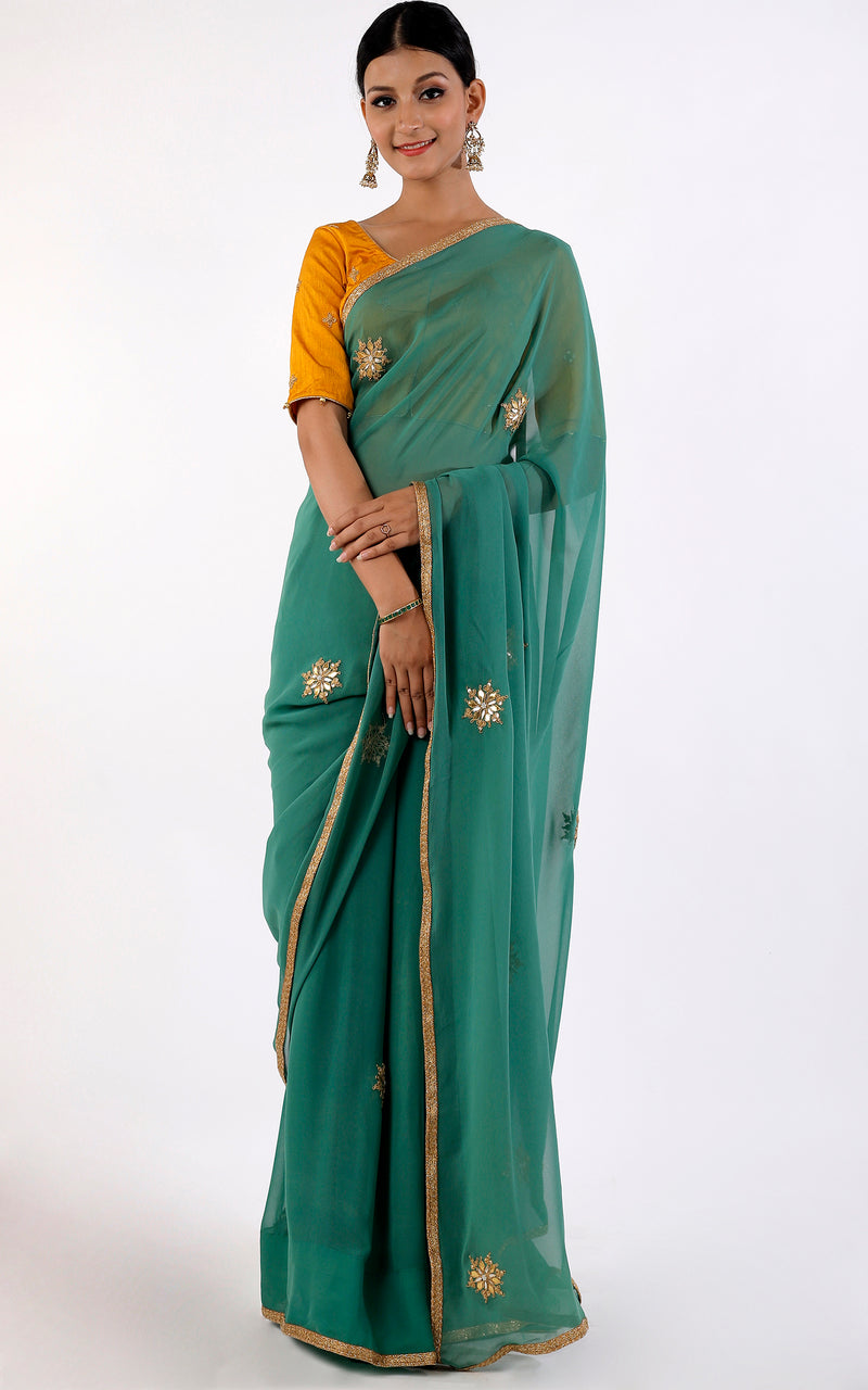 Buy Bottle Green Gota Patti Saree with Mustard Gota Patti Blouse Online at LabelKanupriya.