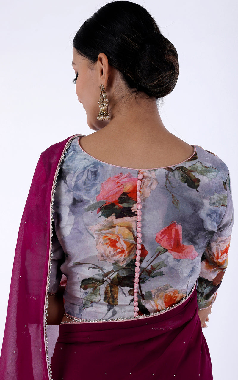 Buy Wine Mukaish Saree with Floral Blouse Online at LabelKanupriya.