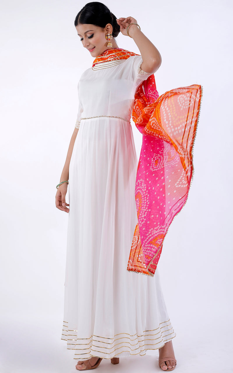 Buy Red Pink Bandhani Dupatta Online at LabelKanupriya.