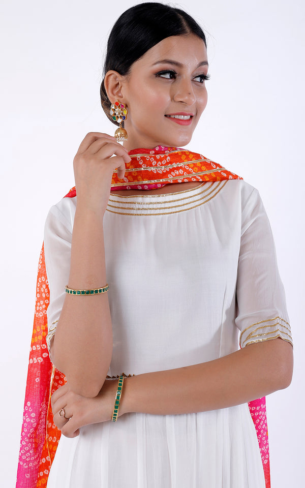Buy White Anarkali with Bandhani Dupatta Online at LabelKanupriya.
