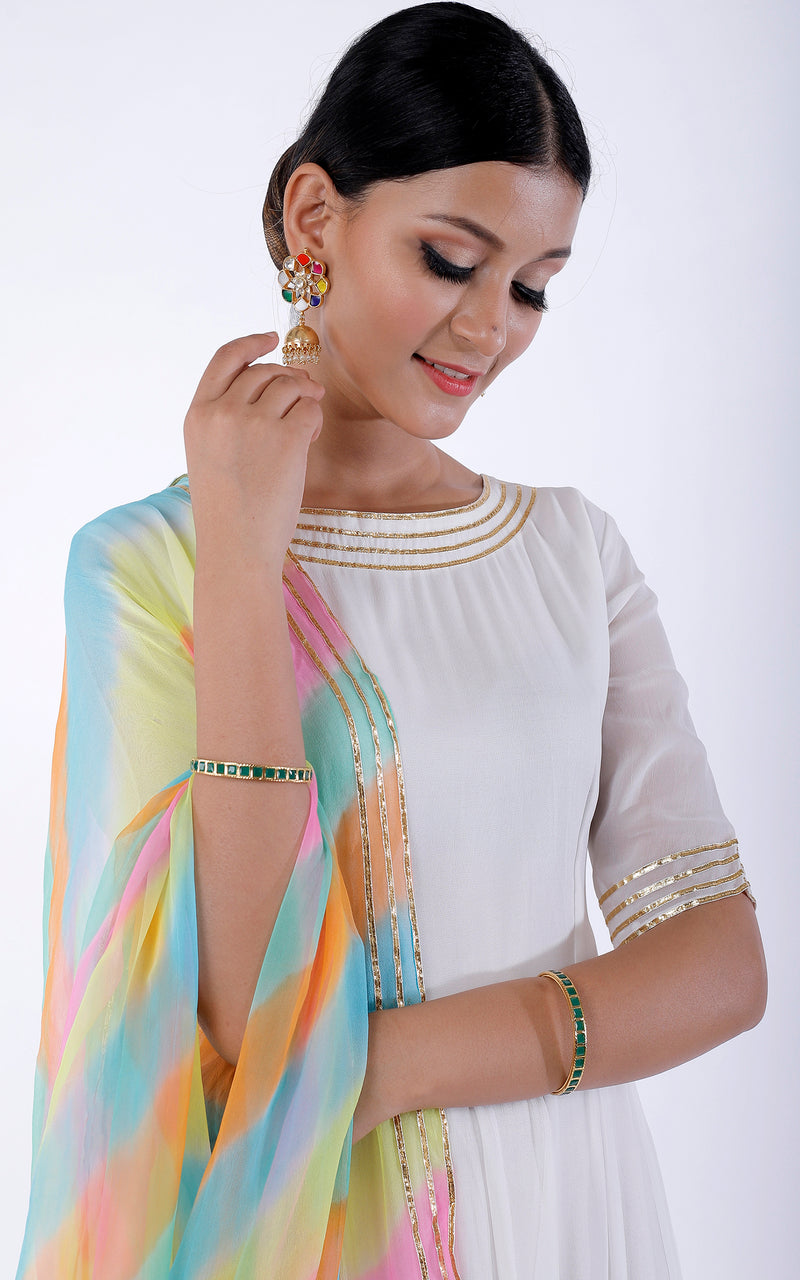Buy White Gota Work Anarkali with Pastel Leheriya Dupatta Online at LabelKanupriya.