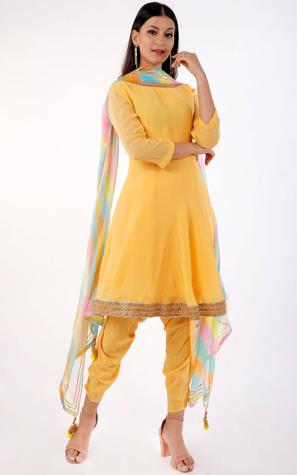 Buy Light Yellow Peplum Kurti with Dhoti Pants Online at LabelKanupriya.