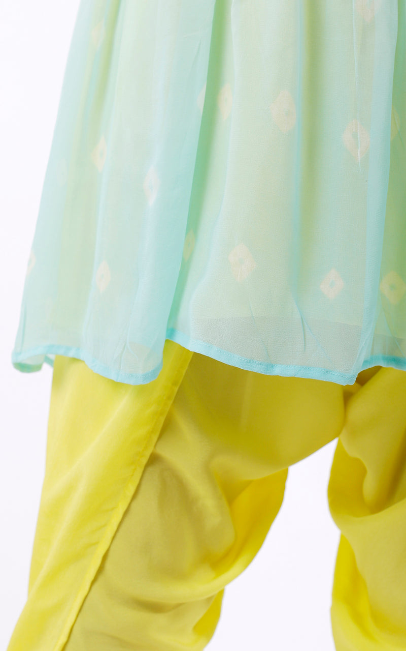 Buy Pastel Bandhej Peplum Dhoti Set Online at LabelKanupriya.