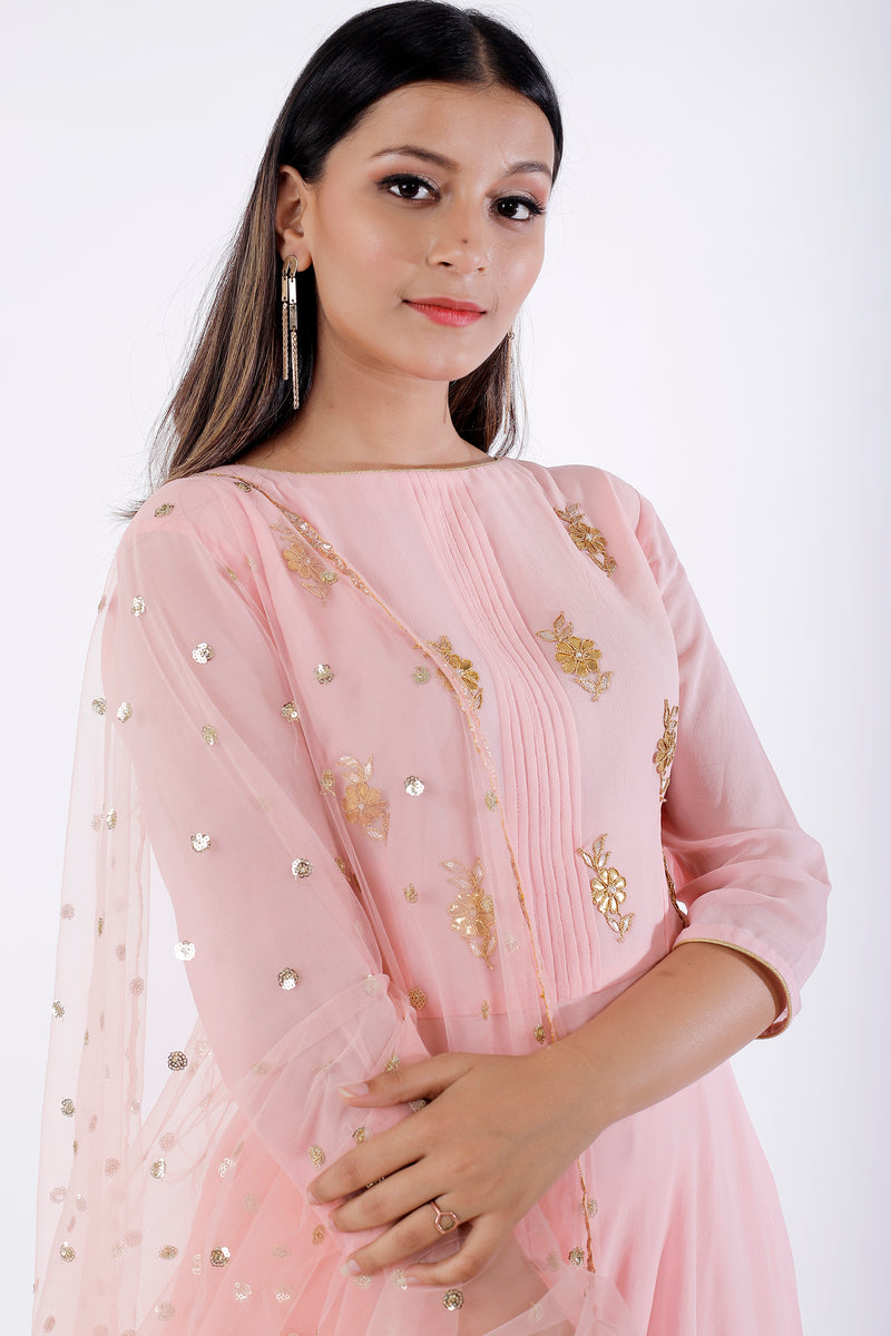 Buy Light Pink Gota Patti Frock Style Sharara Set Online at LabelKanupriya.
