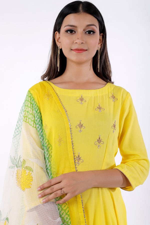 Buy Yellow Gota Patti Anarkali with Sharara Online at LabelKanupriya.