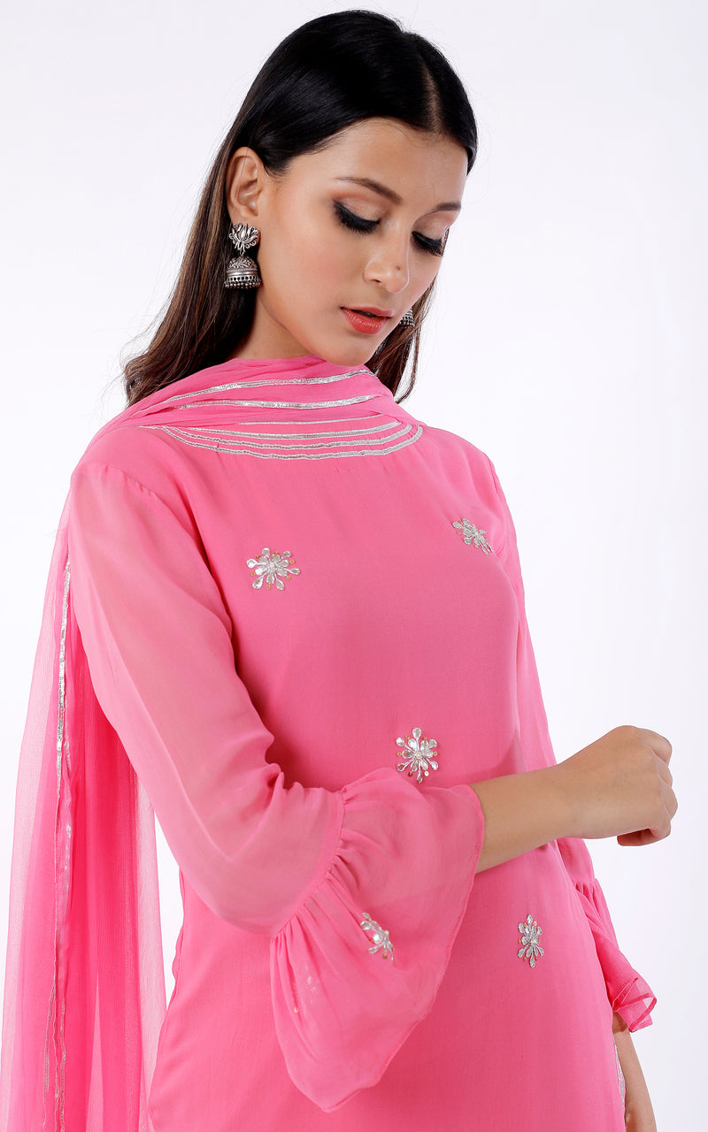 Buy Pink Gota Patti Sharara Set Online at LabelKanupriya.