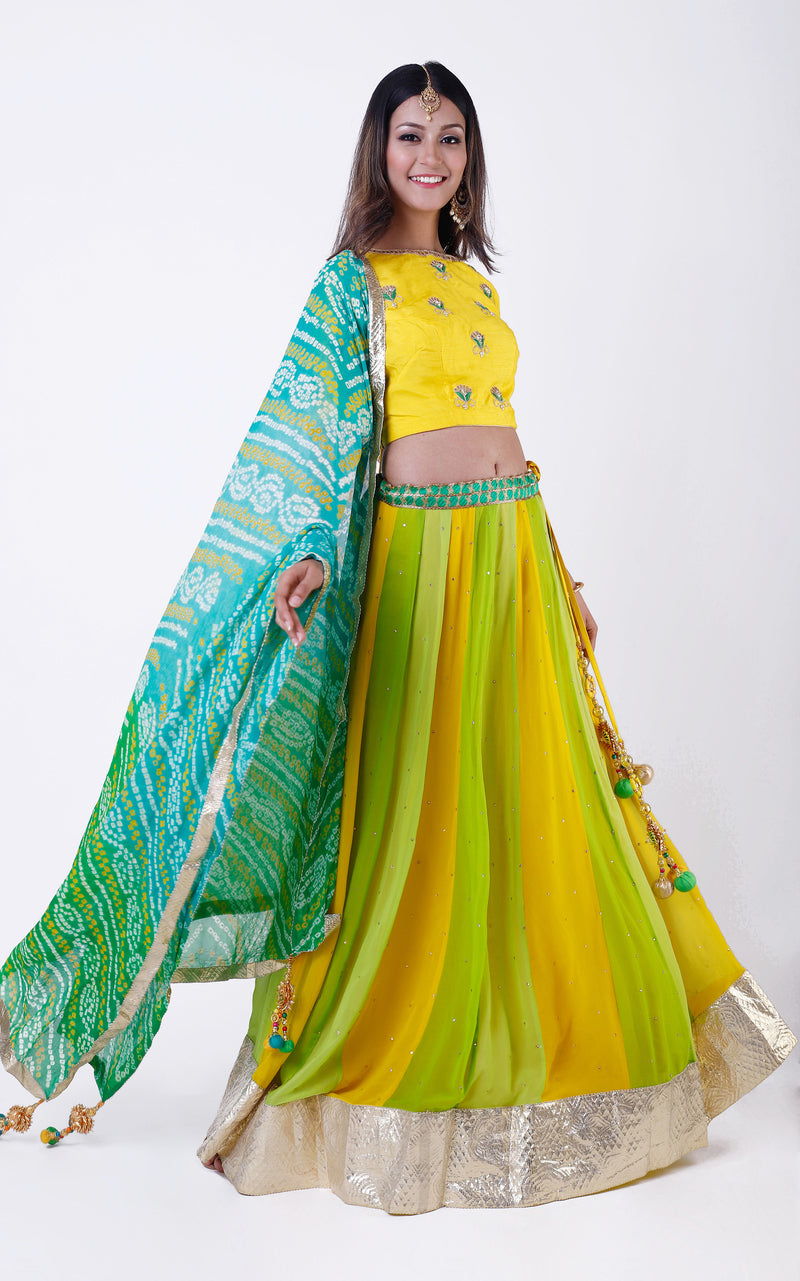 Buy Green Gota Patti Lehenga with Bandhej Dupatta Online at LabelKanupriya.
