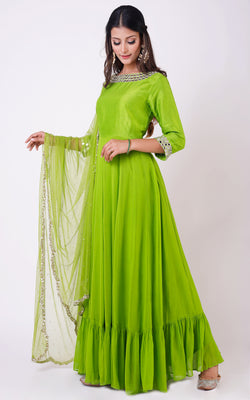 Green Mirrorwork Anarkali