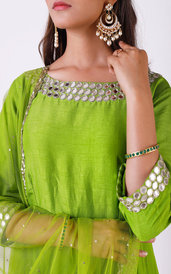 Buy Green Mirrorwork Anarkali Online at LabelKanupriya.