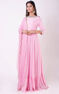 Buy Pink Mirrorwork Anarkali Online at LabelKanupriya.