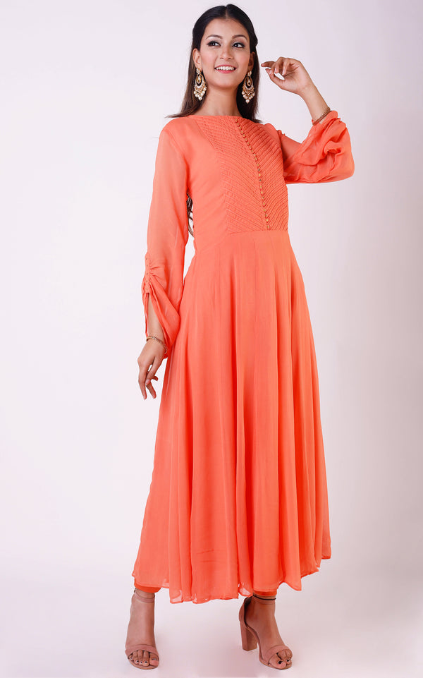 Buy Peach Dori Yoke Long Tunic Online at LabelKanupriya.