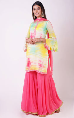 Buy Shibori Sharara Set Online at LabelKanupriya.