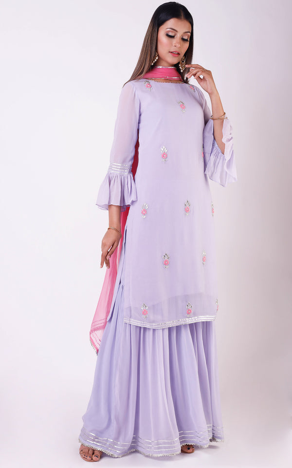 Lilac Gota Patti Sharara Set