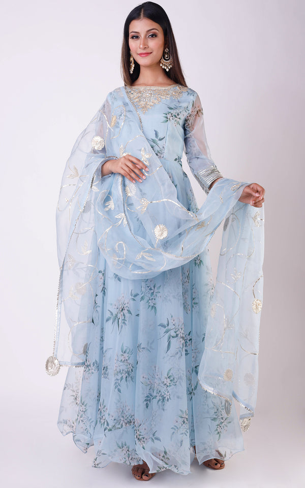 Buy Powder Blue Printed Organza Anarkali with Gota Work Online at LabelKanupriya.