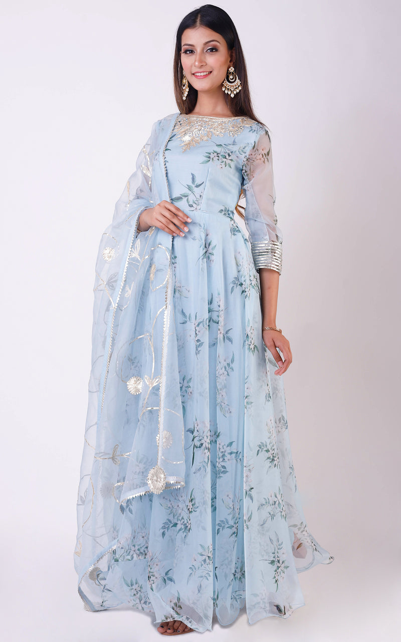 Powder Blue Printed Organza Anarkali with Gota Work