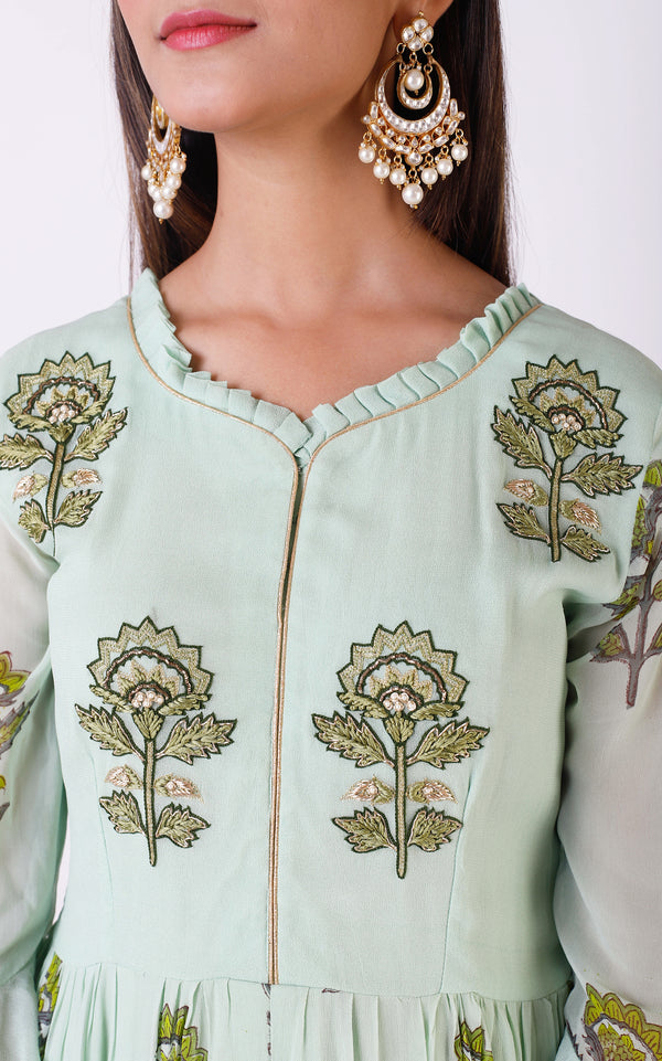 Sage Green Blockprint Handwork Kurta and Palazo Set