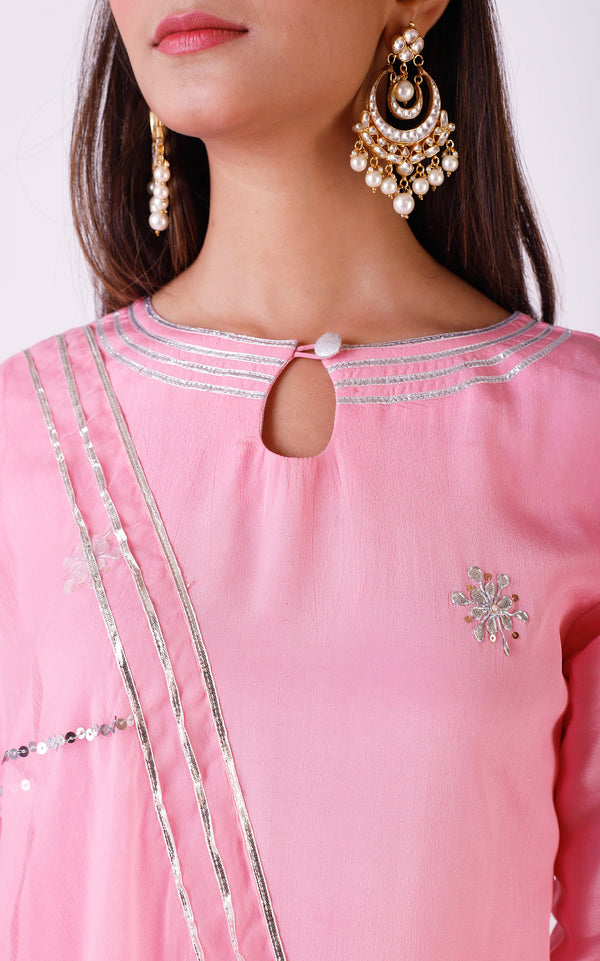 Buy Light Pink Gota Patti Sharara Set Online at LabelKanupriya.