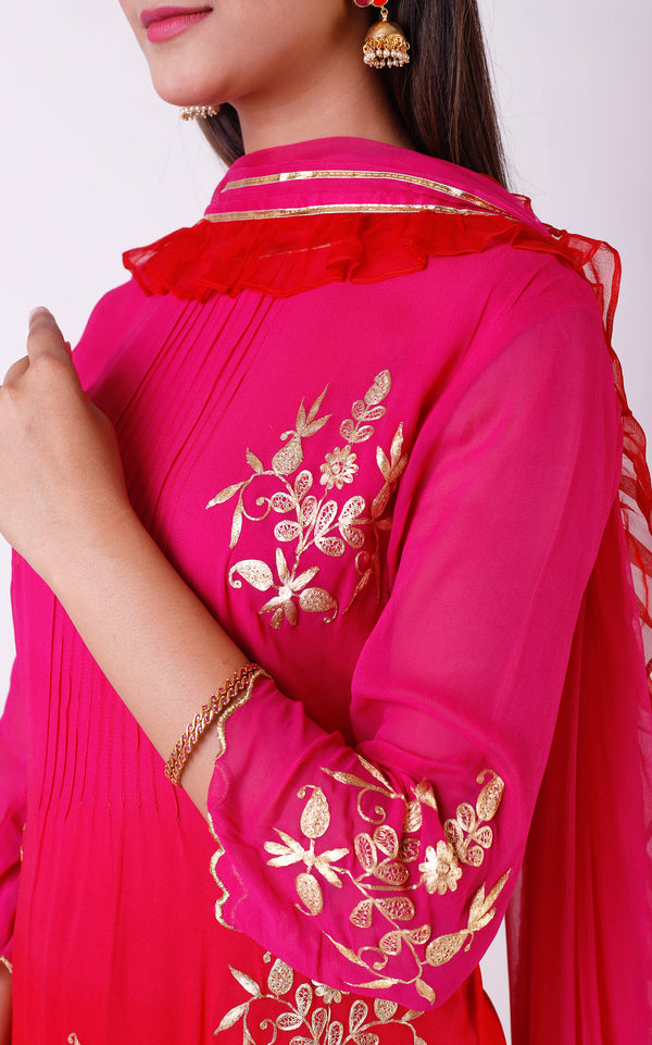 Buy Pink-Red Pittan Sharara Set Online at LabelKanupriya.