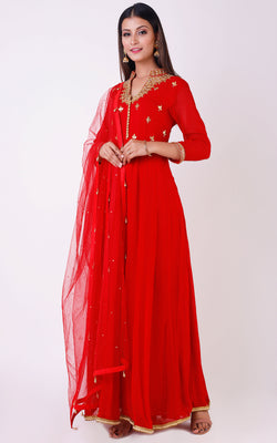 Buy Red Gota Patti Anarkali Suit Online at LabelKanupriya.