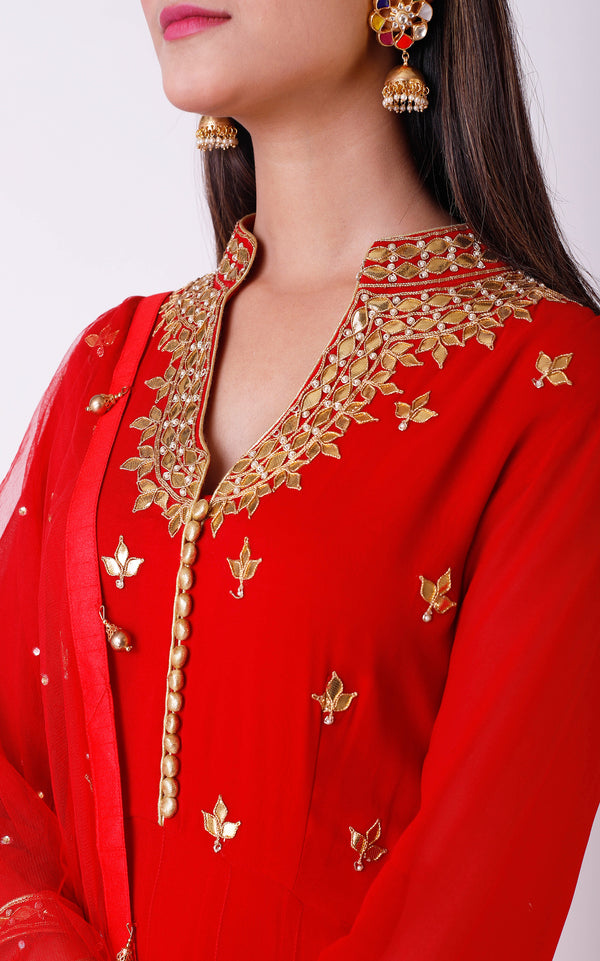 Red Gota Patti Anarkali Suit