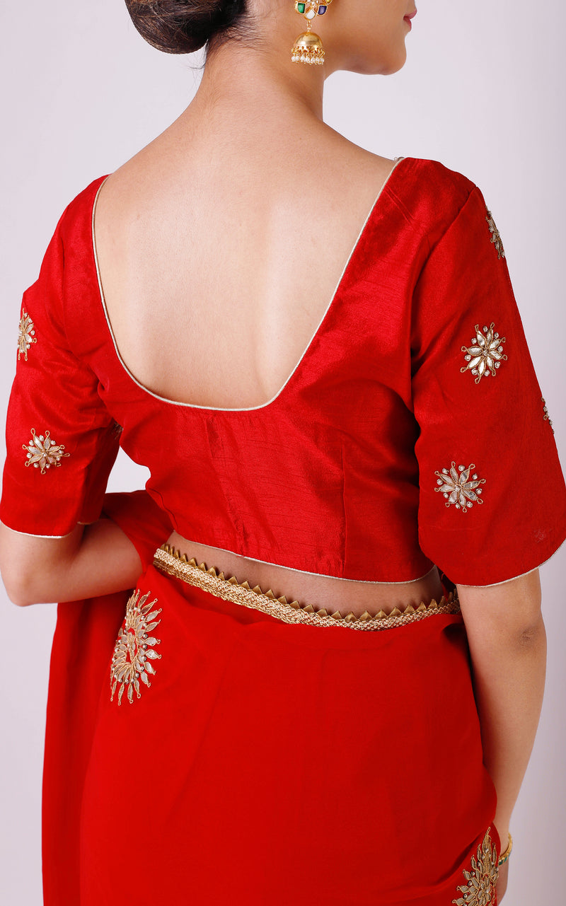 Buy Red Gota Patti Saree with Red Blouse Online at LabelKanupriya.
