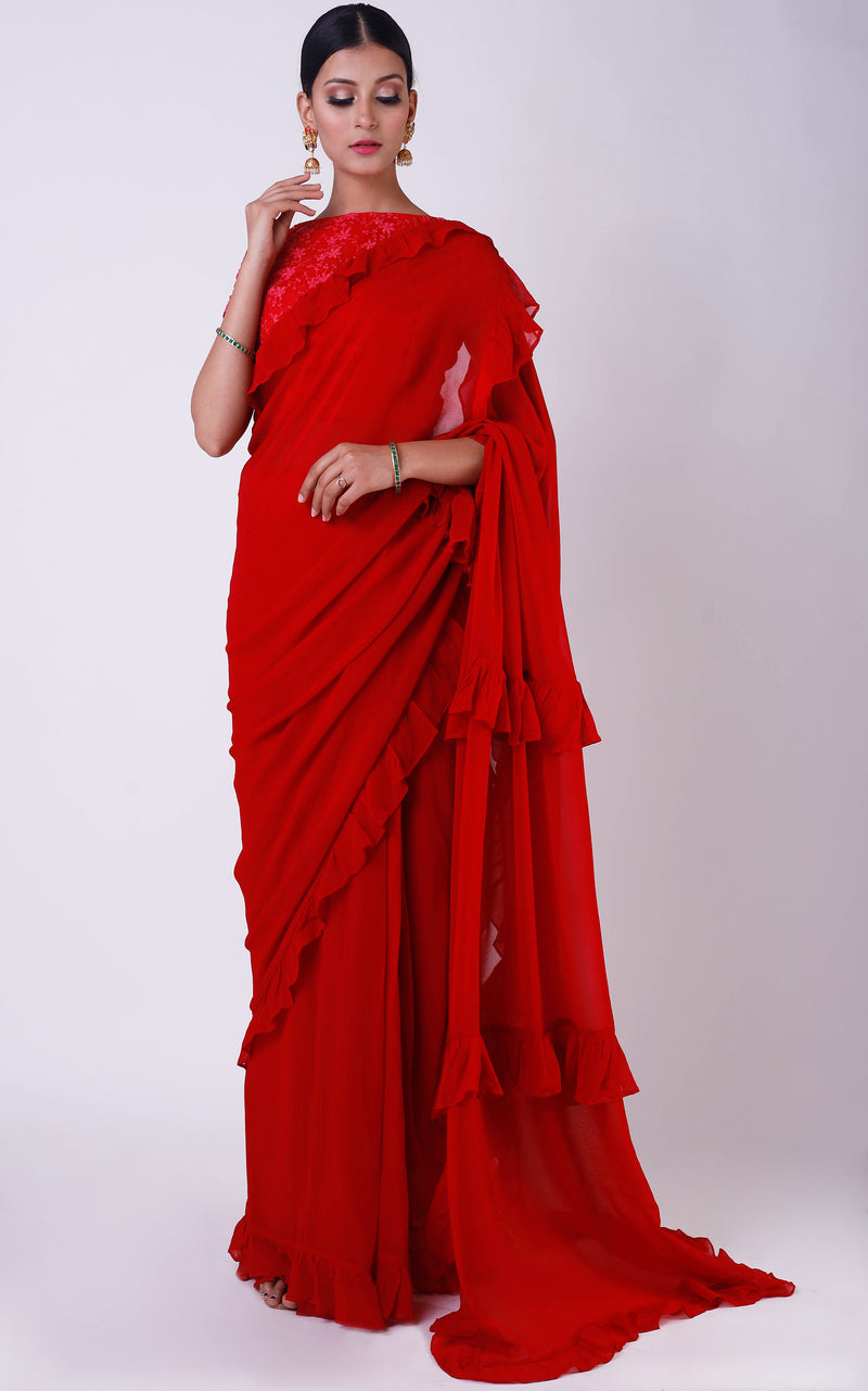 Red Ruffle Saree with Net Blouse