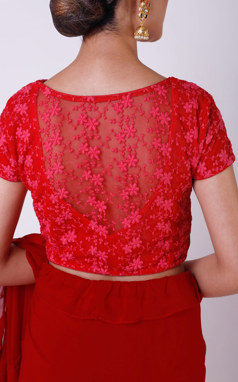 Buy Red Ruffle Saree with Net Blouse Online at LabelKanupriya.