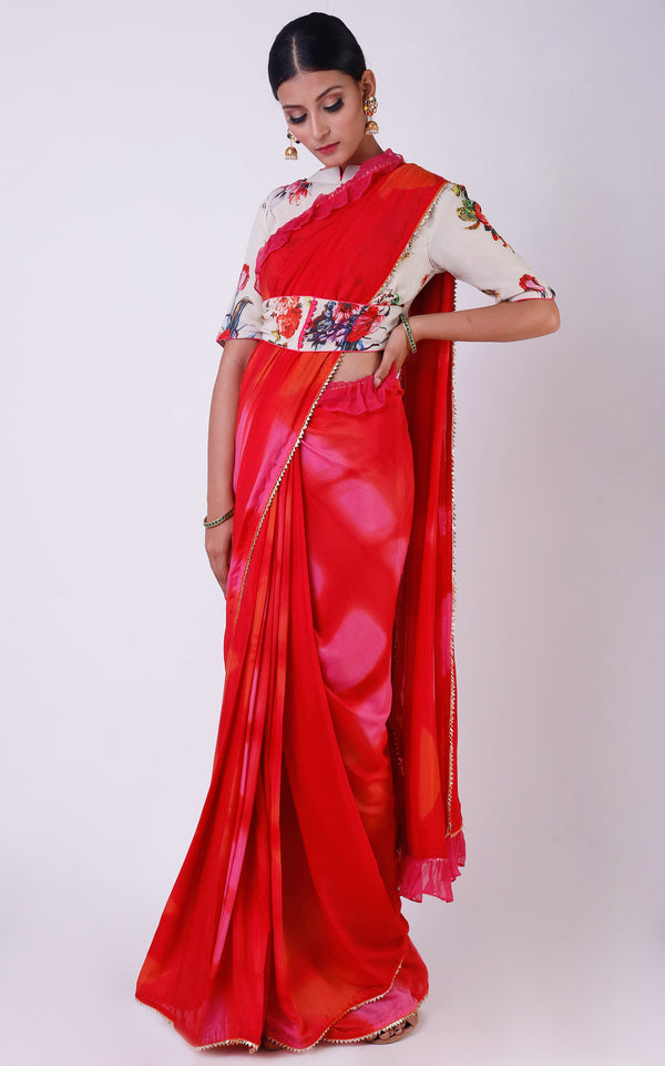 Pink- Red Shibori Ruffle Saree with Floral Blouse