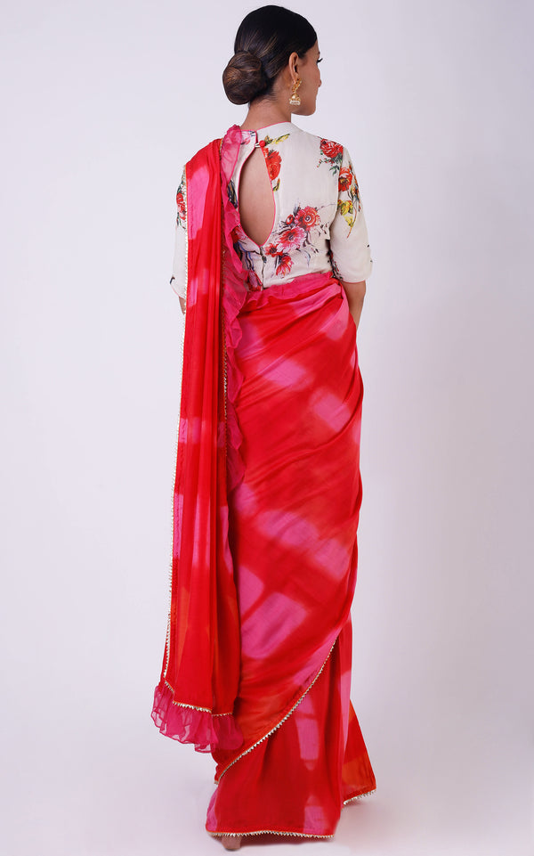 Buy Pink- Red Shibori Ruffle Saree with Floral Blouse Online at LabelKanupriya.