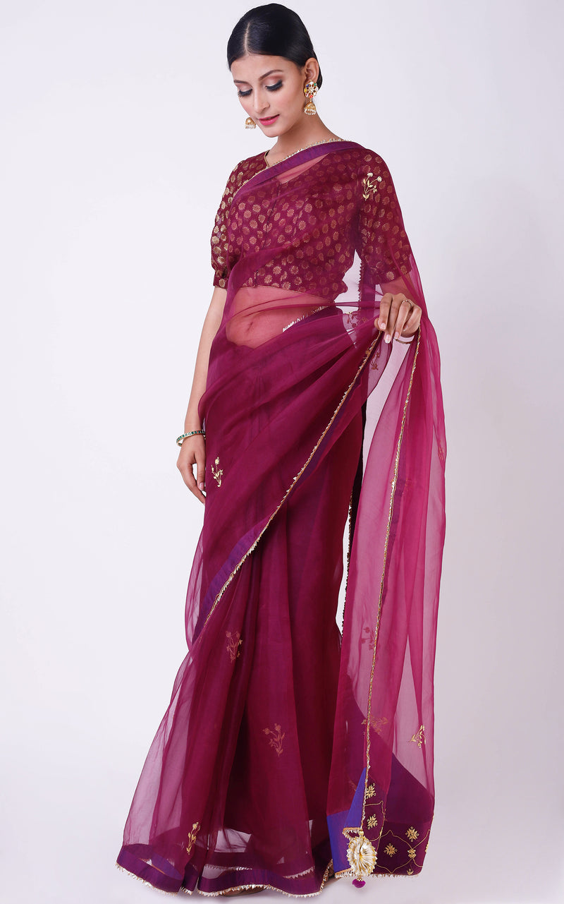 Buy Wine Organza Handwork Saree Online at LabelKanupriya.