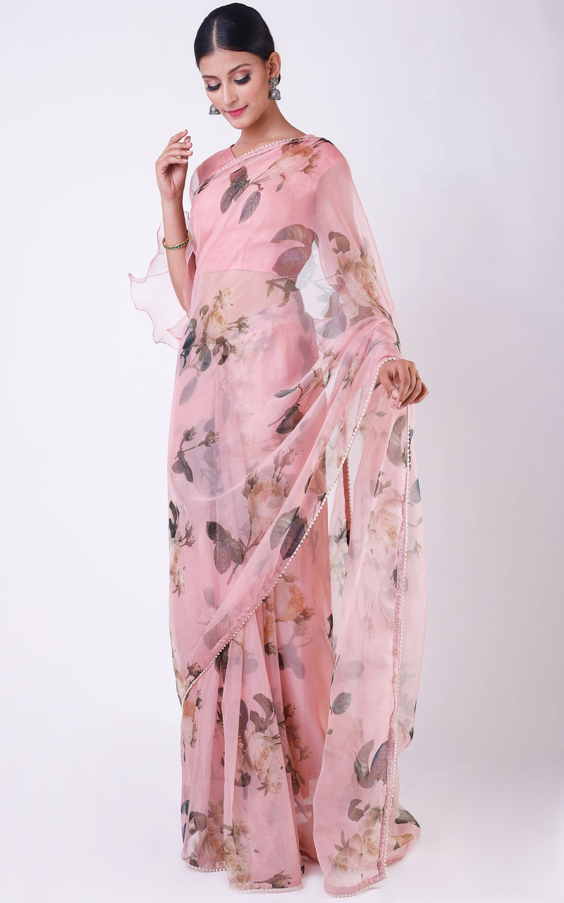 Buy Peach Floral Organza Saree Online at LabelKanupriya.