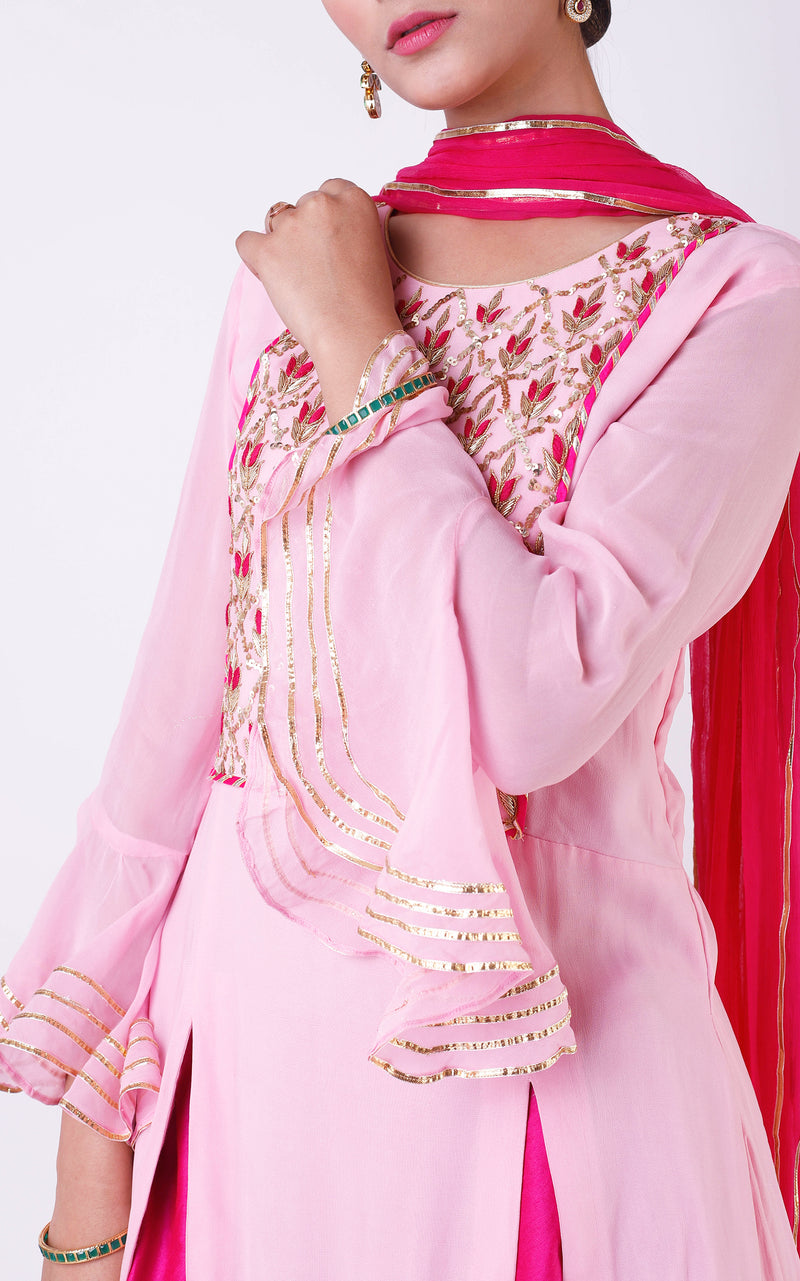 Buy Pink Handwork Kurta and Skirt Set Online at LabelKanupriya.