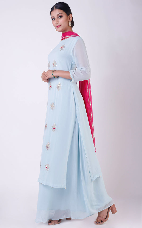Powder Blue Gota Patti Double Layer Dress with Mukaish Dupatta