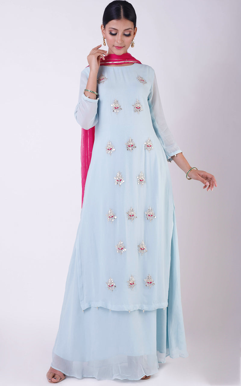 Buy Powder Blue Gota Patti Double Layer Dress with Mukaish Dupatta Online at LabelKanupriya.