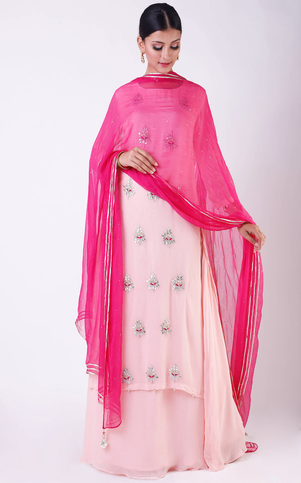 Buy Powder Pink Gota Patti Double Layer Dress with Mukaish Dupatta Online at LabelKanupriya.