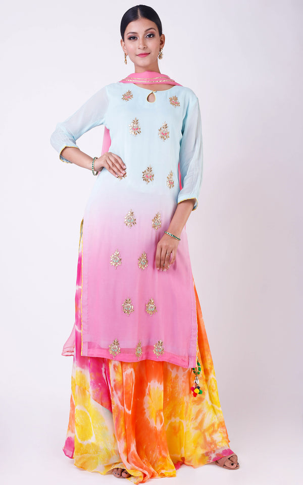 Blue-Pink Shaded Gota Patti Suit
