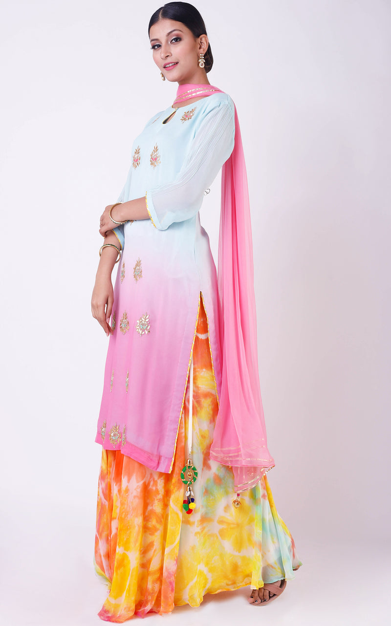 Buy Blue-Pink Shaded Gota Patti Suit Online at LabelKanupriya.