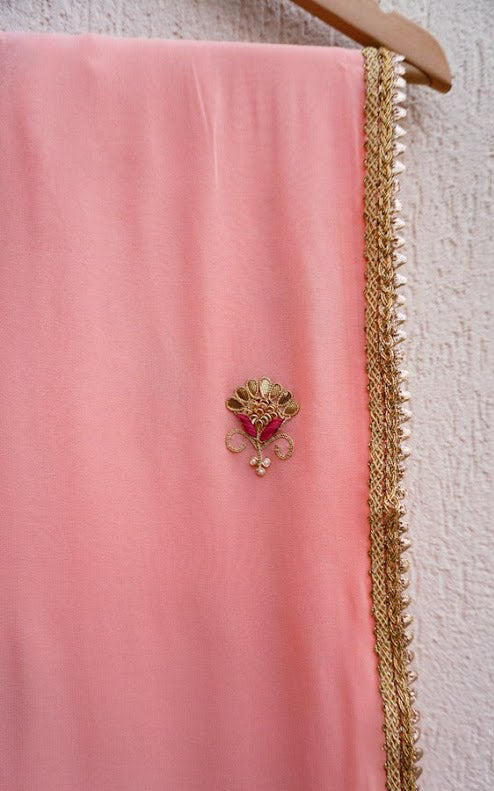 Buy Peach Gota Patti Saree with Fuschia Blouse Online at LabelKanupriya.