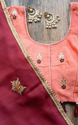 Buy Burgundy Gota Patti Saree with Peach Blouse Online at LabelKanupriya.