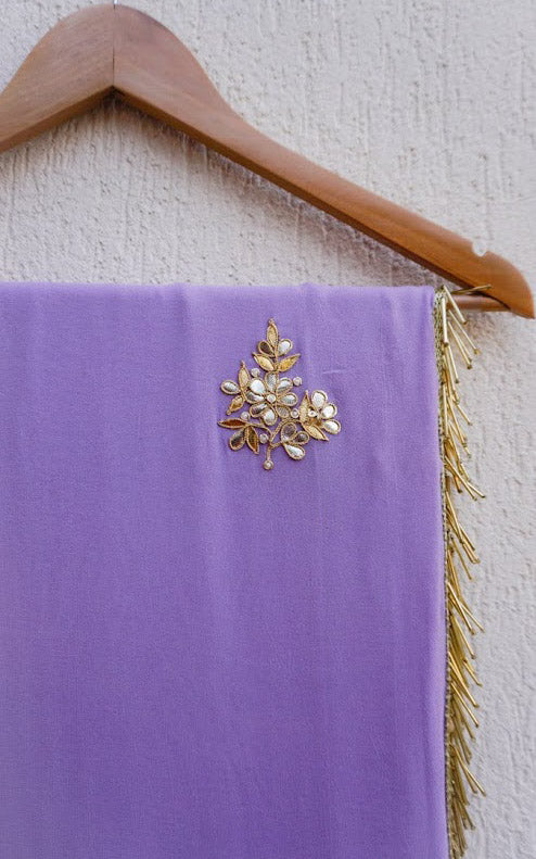 Buy Lavendar Gota Patti Saree with Mustard Blouse Online at LabelKanupriya.