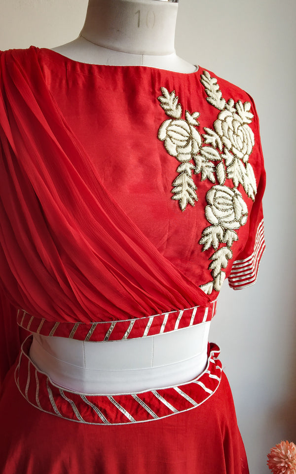 Buy Red Drape Dupatta Lehenga Online at LabelKanupriya.