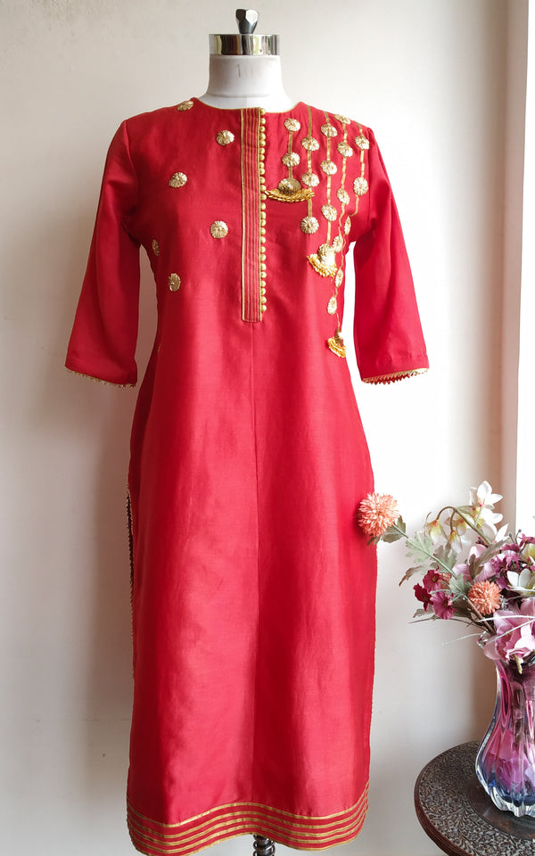 Red Gota Work Kurta