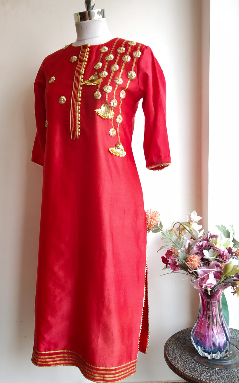 Buy Red Gota Work Kurta Online at LabelKanupriya.