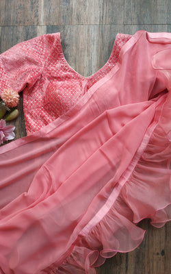 Buy Vintage Pink Ruffle Saree Online at LabelKanupriya.