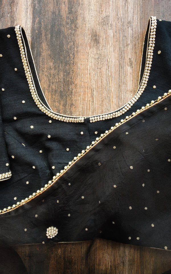 Black Organza Pearl Work Saree