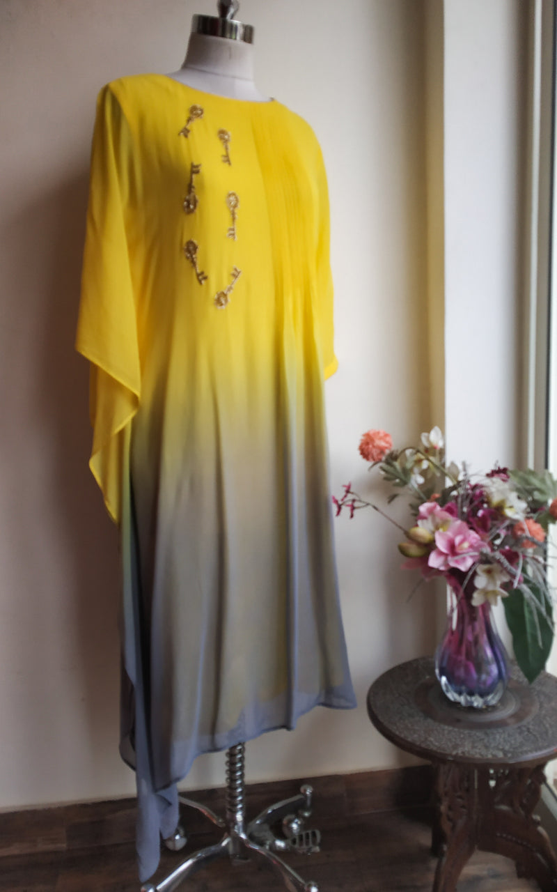 Buy Yellow-Grey Kaftan Tunic Online at LabelKanupriya.