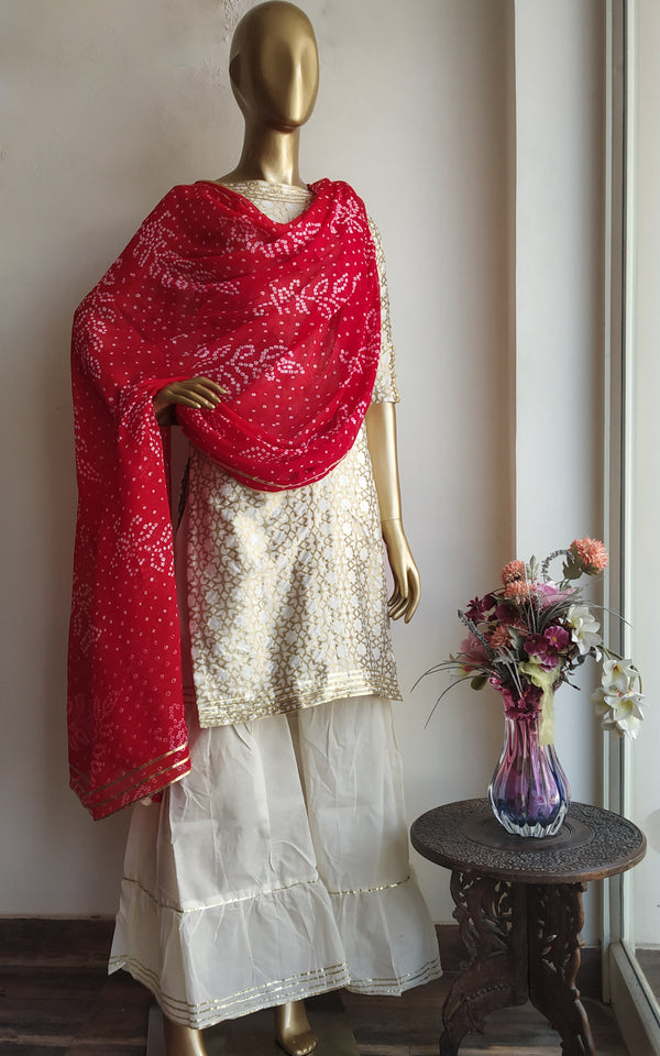 Buy Red Pure Georgette Bandhej Dupatta Online at LabelKanupriya.