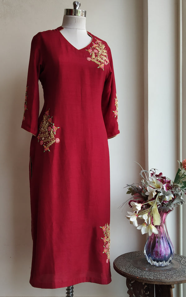 Buy Cherry Red Zardozi Kurta Online at LabelKanupriya.