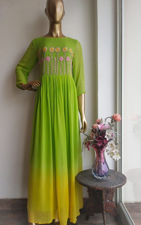 Green Yellow Shaded Floral Handwork Dress